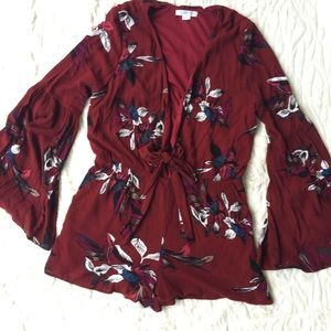 Love Riche Floral Romper with Bell Sleeve | M